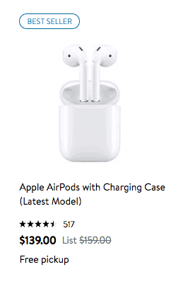 Walmart best seller Apple AirPods with Charging Case latest model