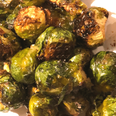 Easy Roasted Brussels Sprouts with Maple Syrup and Soy Sauce Recipe Created by Mom and Son