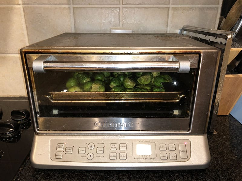 recipe for roasted Brussels sprouts with maple syrup and soy sauce in Cuisinart toaster oven