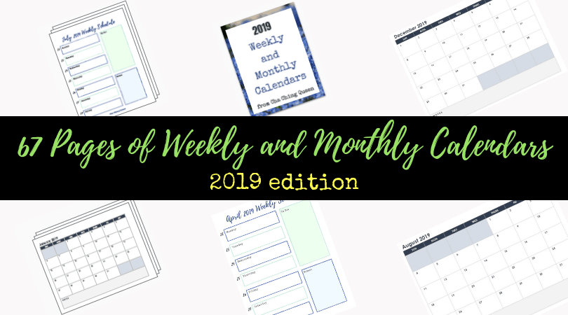 67 Pages of Weekly and Monthly Calendars