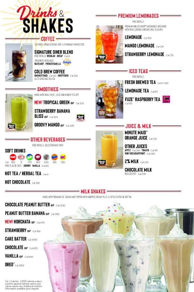 Denny's Menu Drinks and Shakes