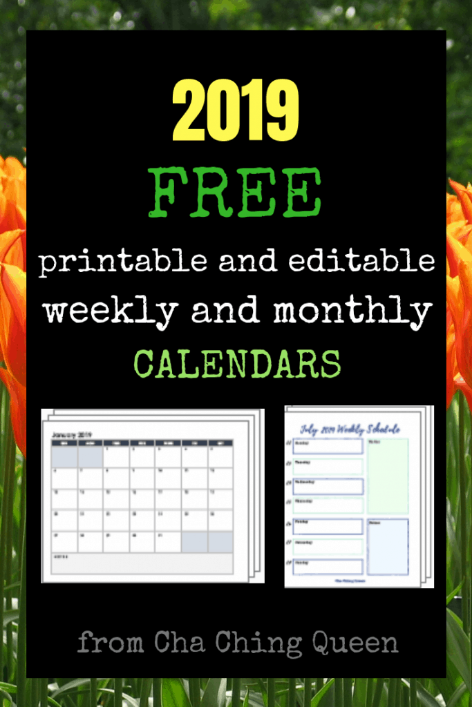 Free printable and editable weekly and monthly calendars - free 2019 printable calendars