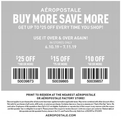 aeropostale printable coupon july 2019 buy more save more