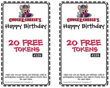 chuck e cheese birthday coupons