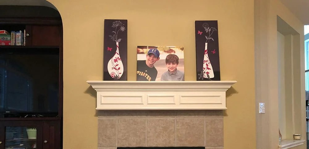 Fireplace Mantle Decor Update with Canvas Print