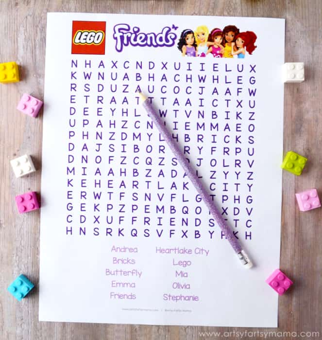 LEGO Friends Word Search for LEGO party games and activities