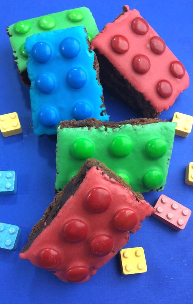 LEGO Party Food - In the Kids Kitchen makes these LEGO brownies that are perfect for birthday parties and bake sales.