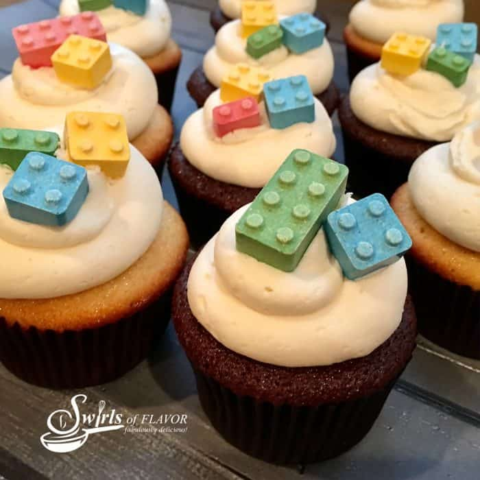 With some LEGO silicone molds and fondant, Swirls of Flavor made these fun LEGO cupcakes.