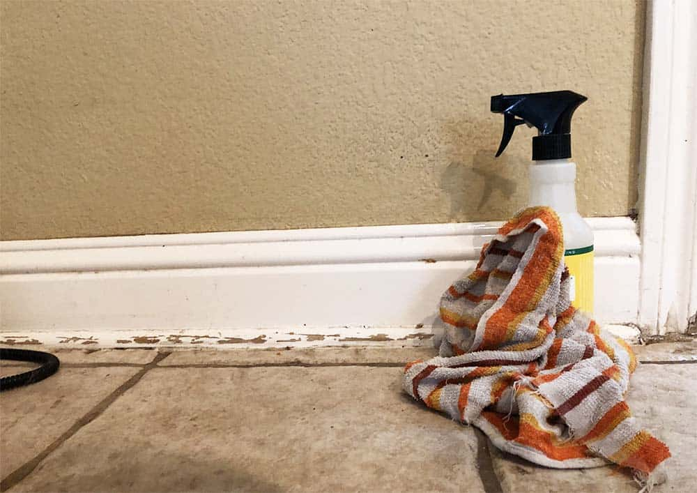 first step to quickly fix up baseboards - wipe down with all purpose cleaner
