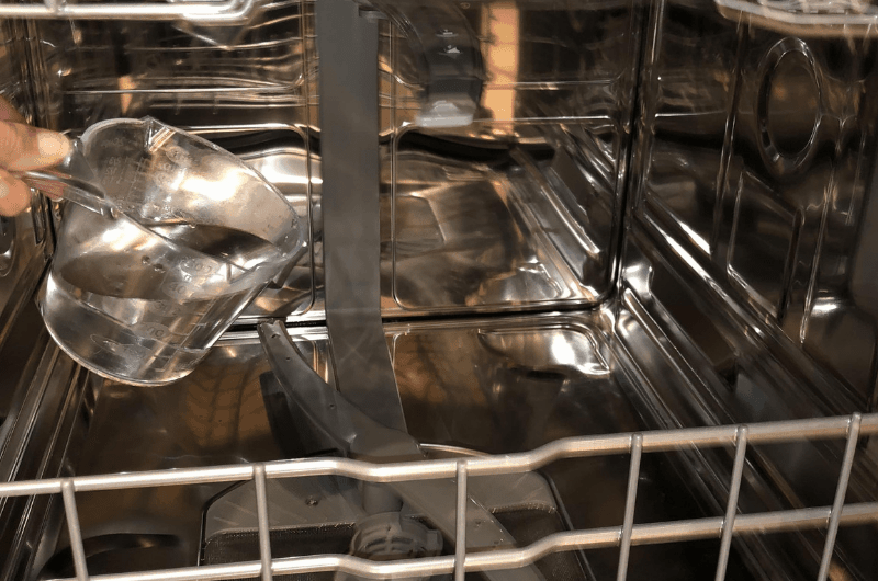 pour vinegar inside dishwasher