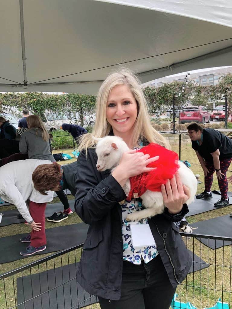 young breast cancer survivor in austin texas at Goat Yoga at Cancer Conference