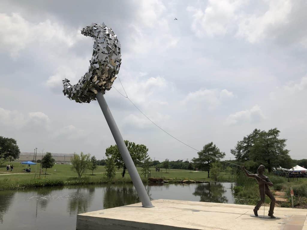 greenline park statue boy and moon - Southside San Antonio Travel Bloggers Tour