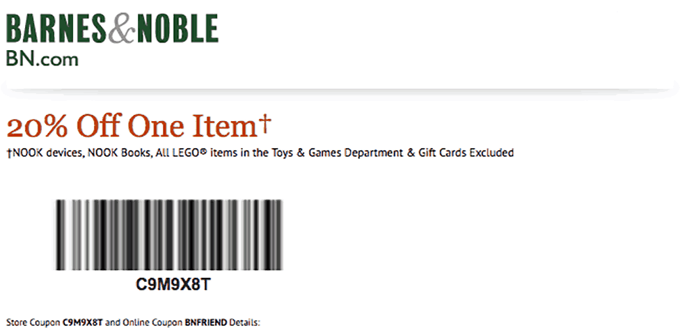 barnes and noble printable coupon code 2019