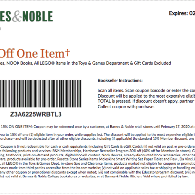 Barnes and Noble Coupons and Discounts 2020- Printable Coupon and Coupon Code for February 2020