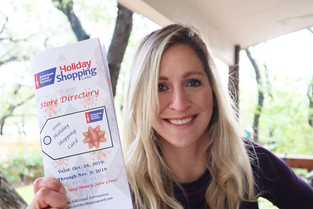 Rachel with American Cancer Society Holiday Shopping Card 2019