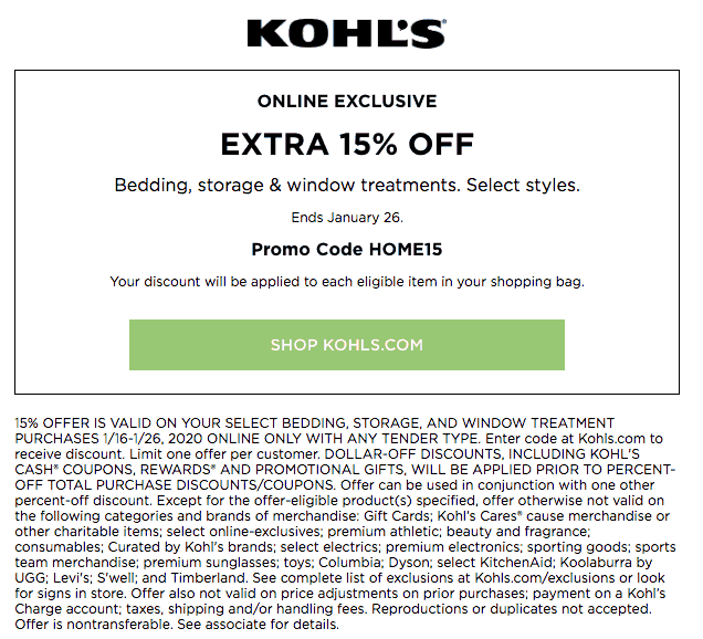 january 2020 kohls printable coupon for 15 percent off