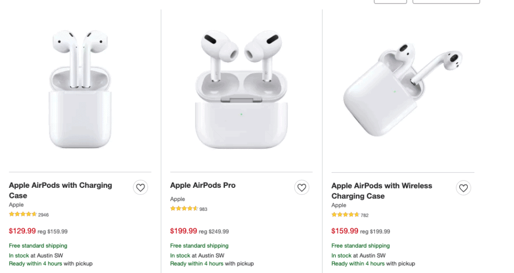 low prices on airpods at Target