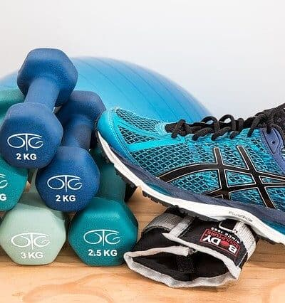 Running shoes exercise and weights