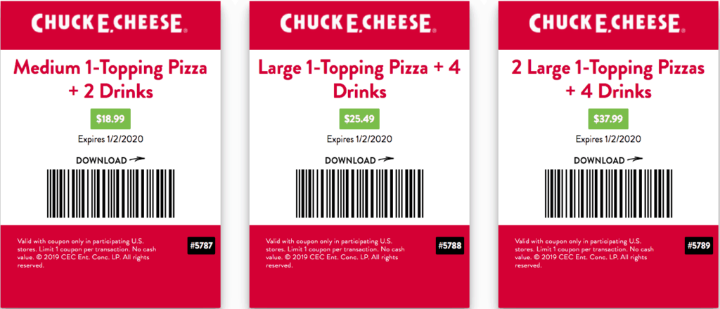 chuck e cheese coupons december 2019