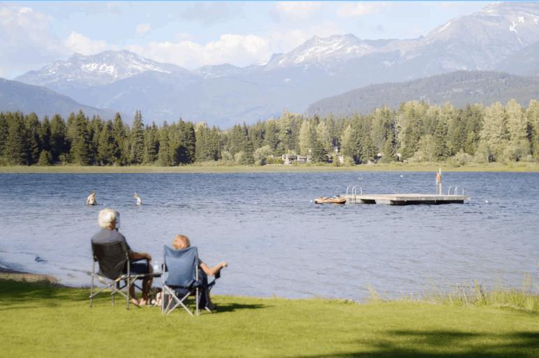 old elderly couple sitting at lake