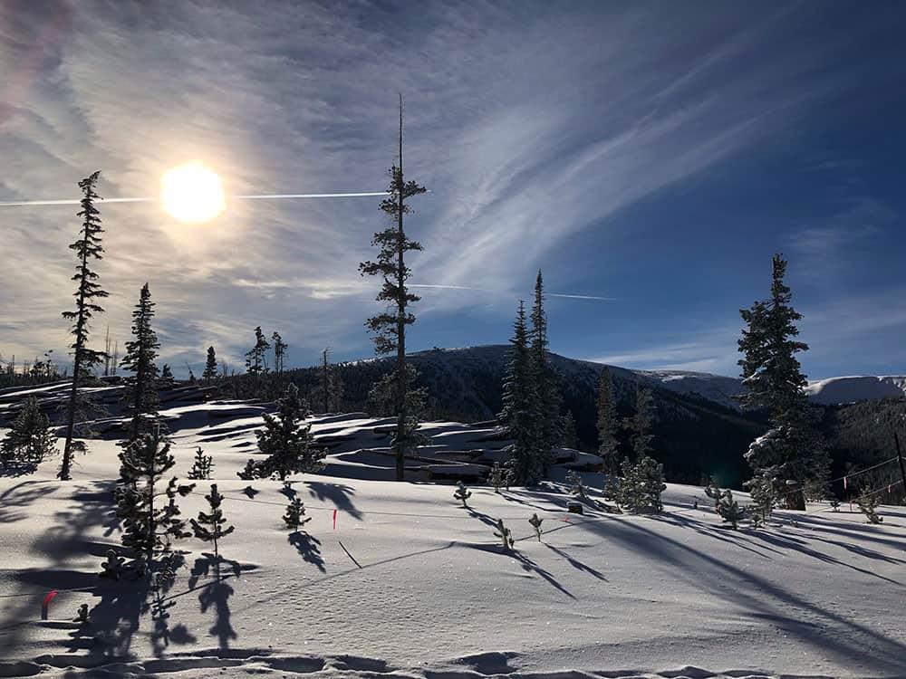 beautiful ski mountain view sun snow winter park