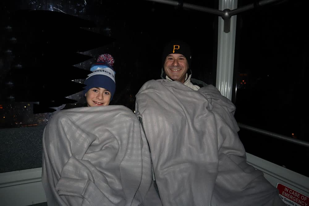 blankets on the gondola at night