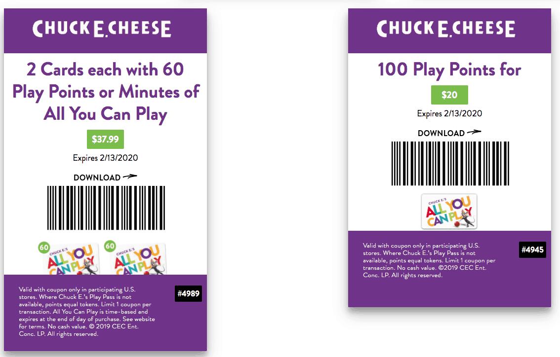 chuck e cheese printable coupon 2020 january february