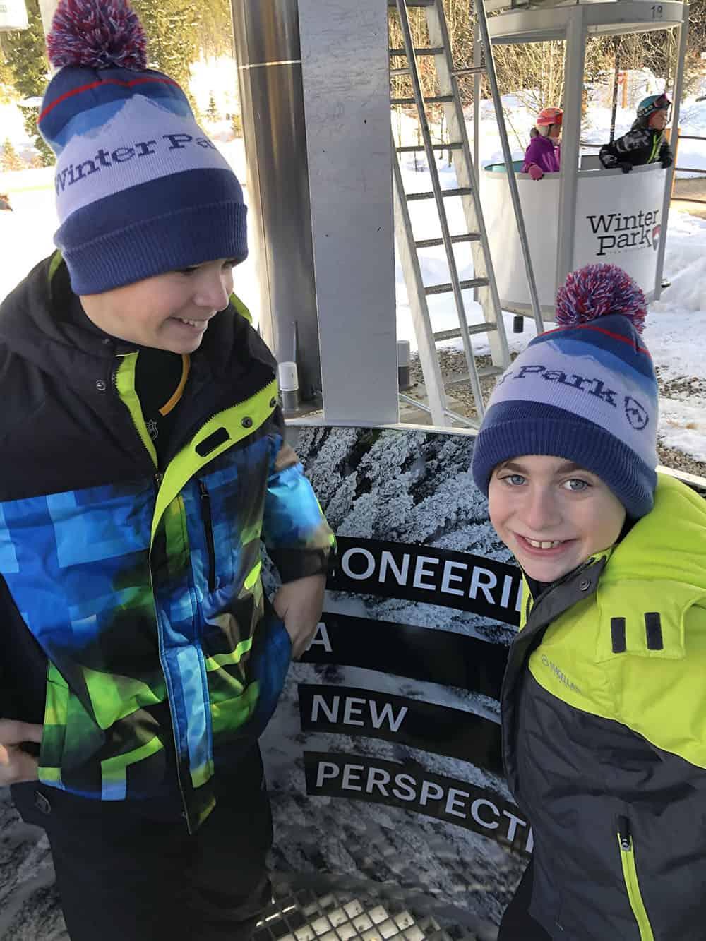 happy kids ski vacation winter park