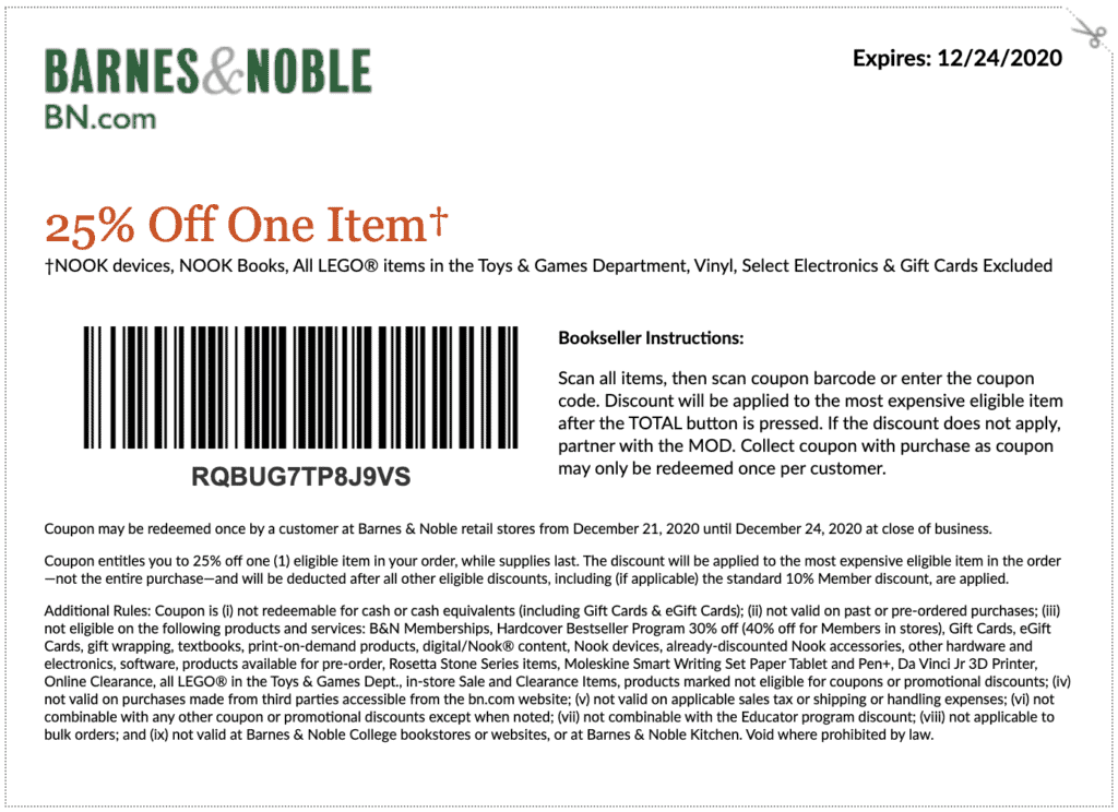 barnes and noble printable coupon and coupon code december 2020