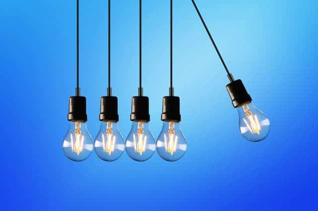 five light bulbs hanging down