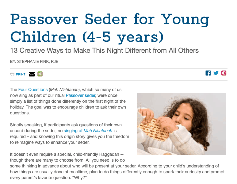 Reform Seder Family Friendly Haggadah