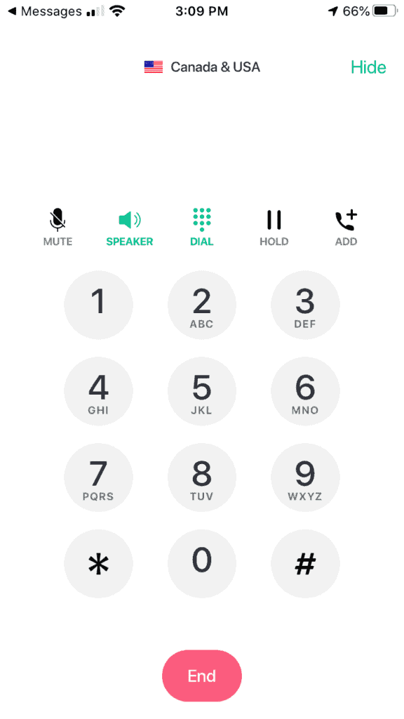 keypad during TextNow Call