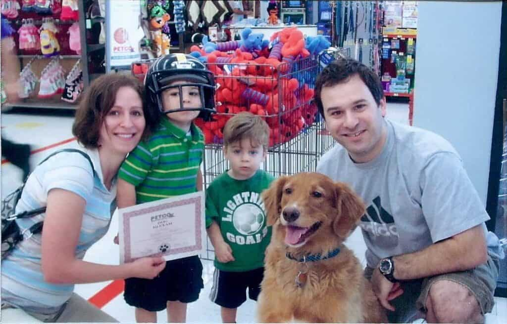 at petco with the family - intellegent dog certificate