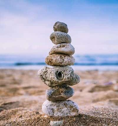 beach stacked rocks