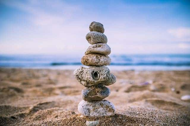 beach stacked rocks