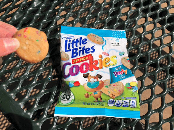 NEW Entenmann's Little Bites Soft Baked Party Cake Cookies on a picnic table