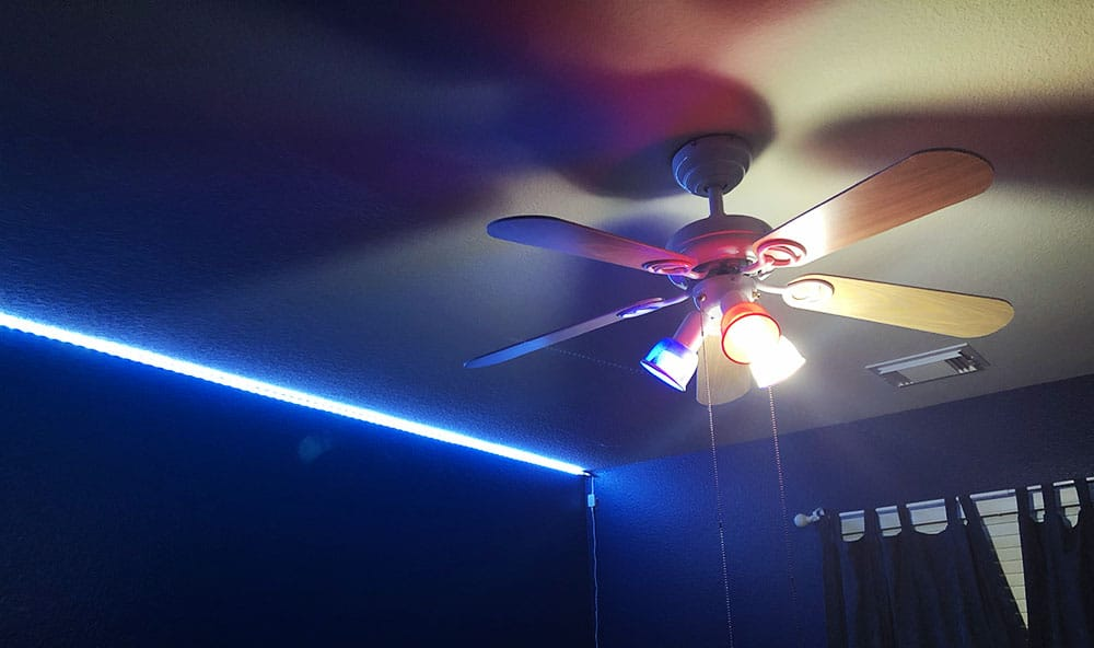 added smart color-changing light bulbs to his fan_1