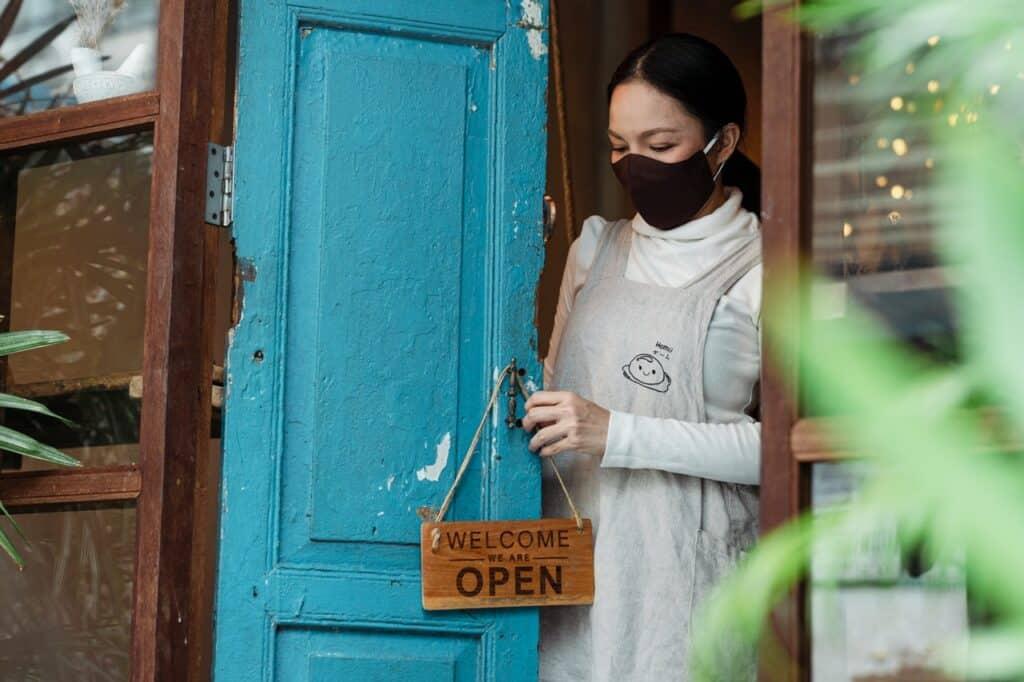 business woman mask open