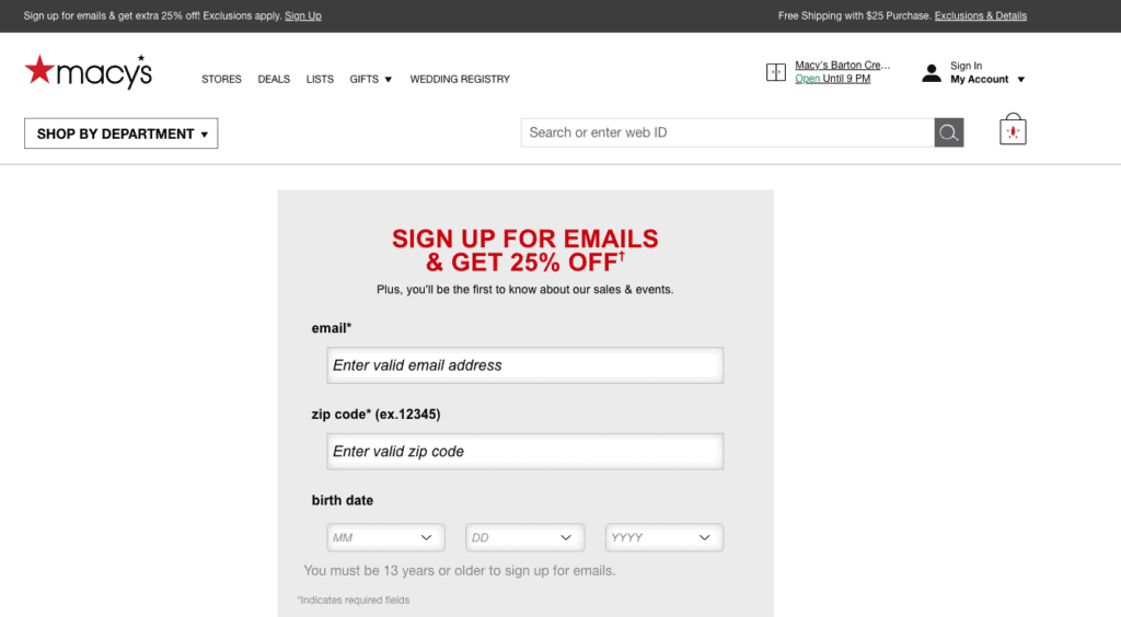Sign Up for Macy's Emails