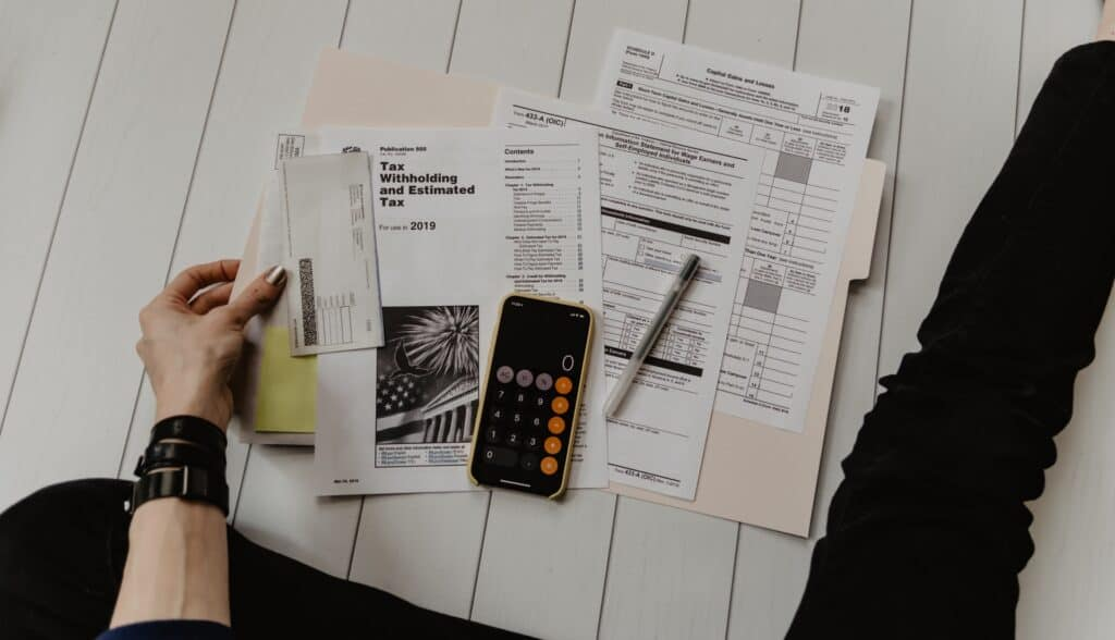 finances tax papers and calculator