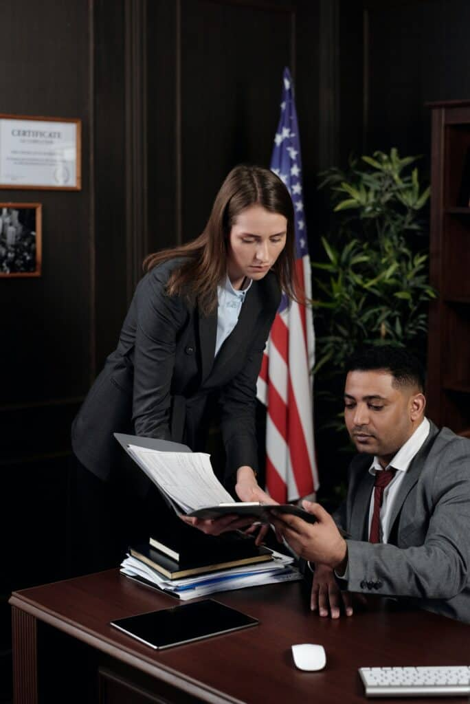 lawyer in office at desk