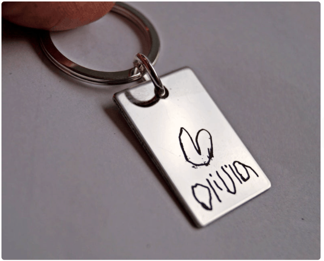 handwritten keychain for dad for fathers day