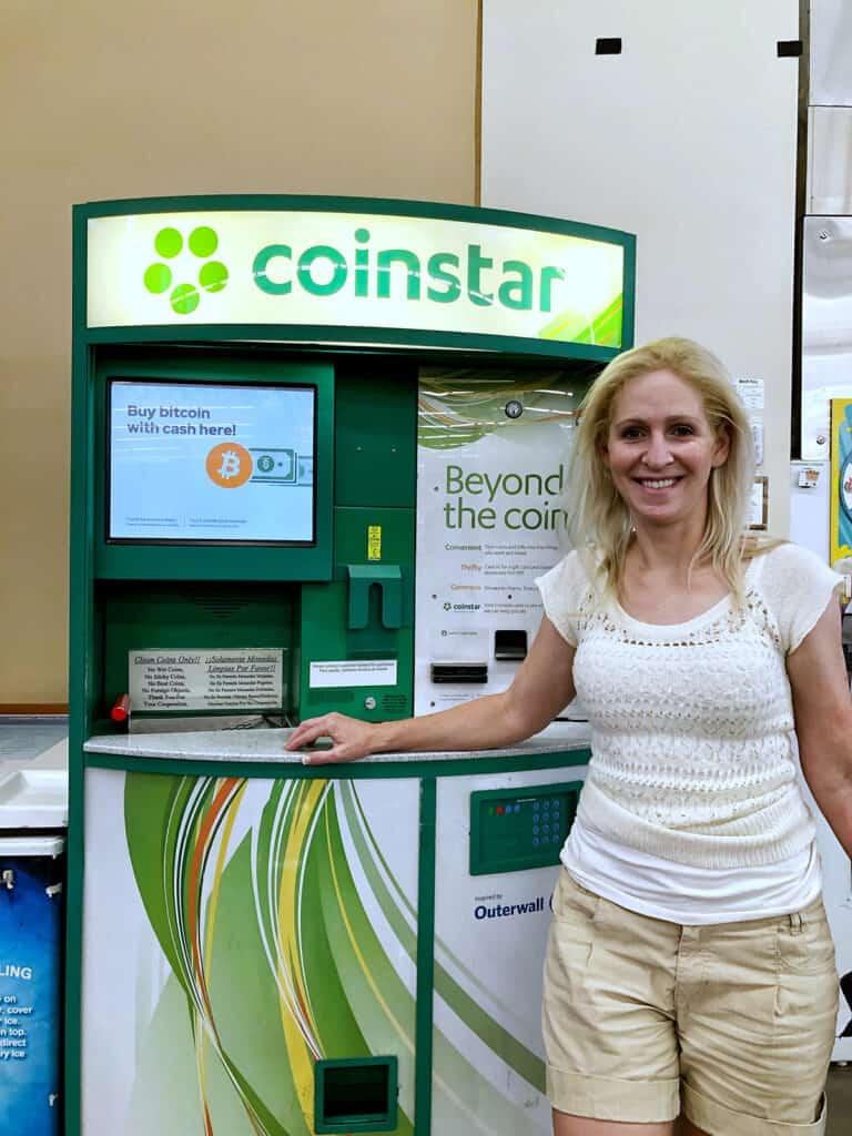 Rachel at the Coinstar Kiosk at H-E-B Austin Texas