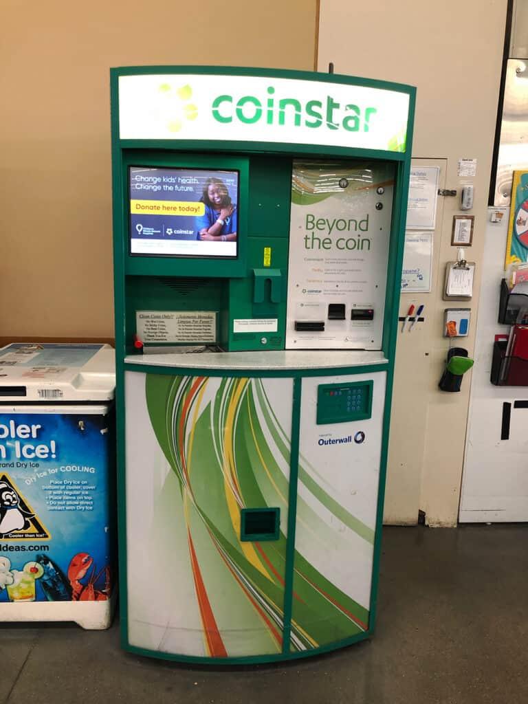 coinstar kiosk - turn coins into a donation