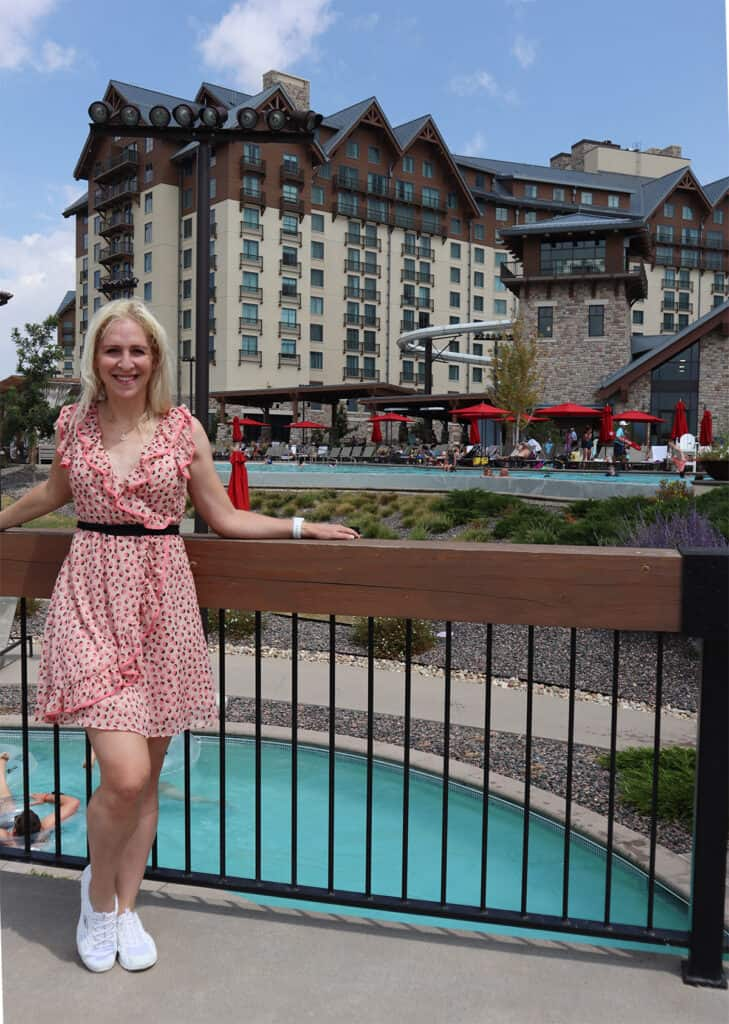Gaylord Rockies Resort - Rachel from Cha Ching Queen at outdoor pool, lazy river, water slide
