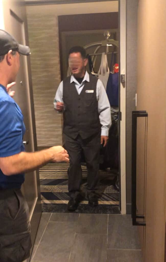 bellman brings luggage to our room at gaylord rockies