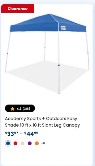 Academy Sports + Outdoors Easy Shade 10 ft x 10 ft Slant Leg Canopy