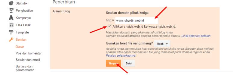 Cara Mengatur Custom Domain dot Com untuk blogspot