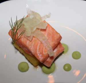 Steelhead trout, poached pineapple, avocado mousse, shaved fennel