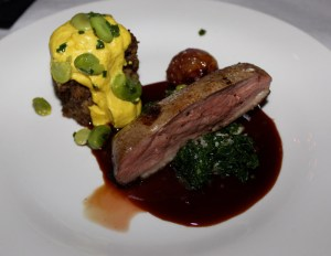 Duck breast with duck egg omelet and goose liver pâté